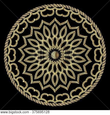 Textured Gold 3d Ropes Mandala Pattern. Tapestry Floral Vector Background. Embroidery Vintage Flower