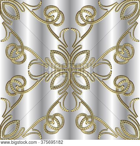 Textured Gold 3d Seamless Pattern. Tapestry Floral Vector Silver Background. Embroidery Vintage Flow