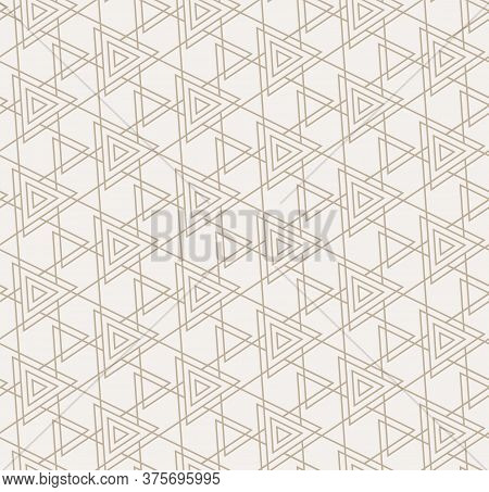 Continuous Ramadan Vector Poly, Textile Texture. Seamless Modern Graphic Triangular Deco Pattern. Re