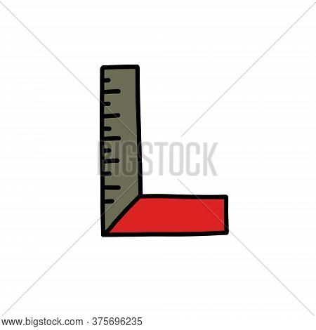 Angle Ruler Doodle Icon, Vector Color Line Illustration