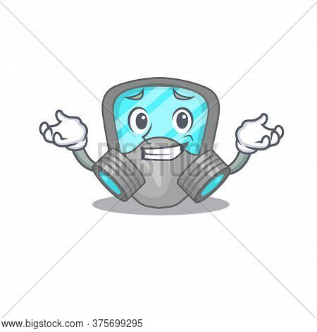 A Cute Picture Of Grinning Respirator Mask Caricature Character