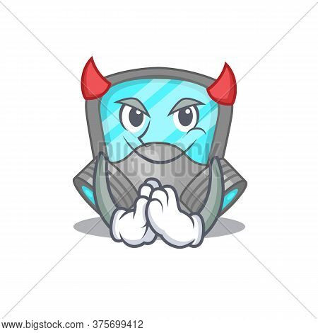 Respirator Mask Clothed As Devil Cartoon Character Design Concept