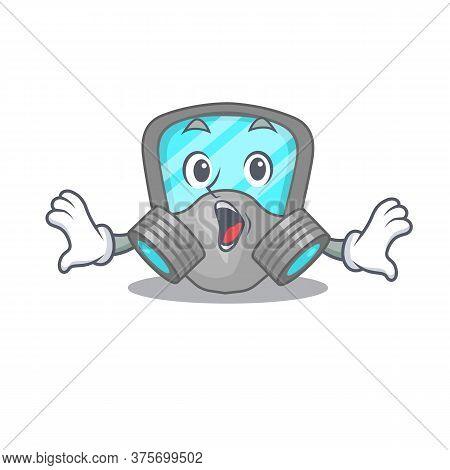Respirator Mask Mascot Design Concept Having A Surprised Gesture