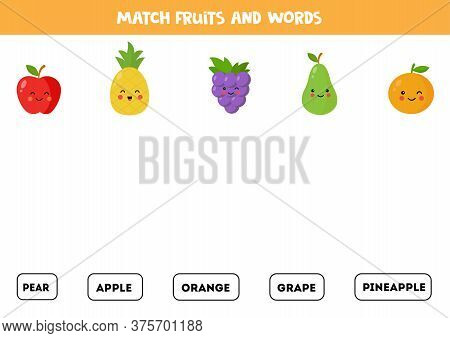 Match Fruits With The Words. English Grammar Game.