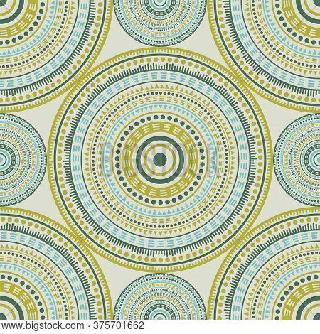 Bohemian Ethnic Motifs Seamless Pattern. Circle Medallion Mandala Abstract Tiles. Textile Print Temp