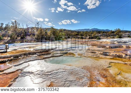 Surreal Landscape Of Canary Spring Thermal Main Terrace At Mammoth Hot Springs In Yellowstone Nation