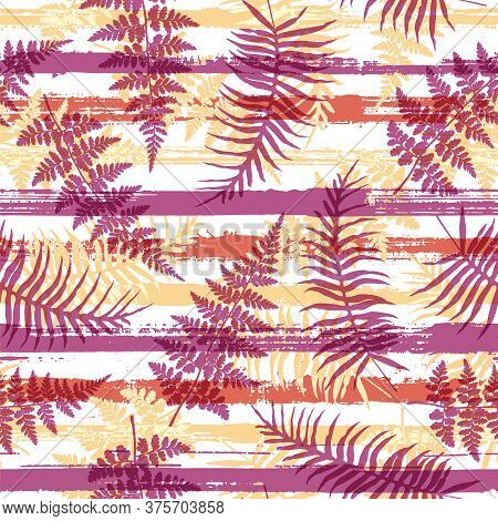 Jungle New Zealand Fern Frond And Bracken Grass Overlapping Stripes Vector Seamless Pattern. Madagas