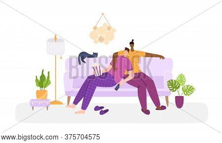 Lgbt Concept - Couple Of Gay Men Together In Living Room Chatting, Watching Tv. Same Sex Young Male