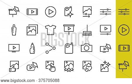Gallery Set Of Images Vector Line Icons. Contains Icons Such As Video, Play Video, Edit Images, Busi