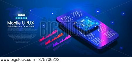 Futuristic Microchip Processor For Mobile Phone On Blue Background. Powerful Processor For Processin