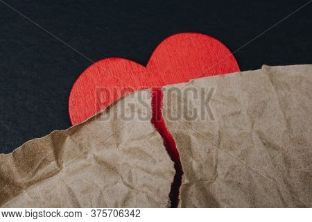 Heart With Torn Paper For Love Care Concept Symbol