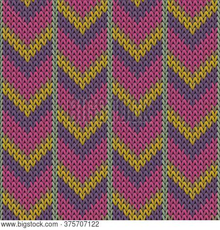 Fairisle Downward Arrow Lines Knitting Texture Geometric Vector Seamless. Blanket Knitwear Fabric Pr