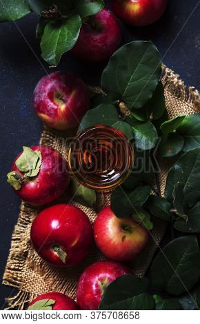 Apple Brandy, Dark Background, Top View  With Space For Text