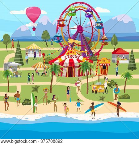 Amusement Park Outdoor Coast Sea Ocean Festival Curcus Tent Ferris Wheel Tents Canopy. Visitors Spen