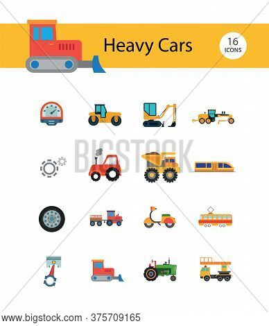 Heavy Cars Icon Set. Trailer Red Tractor Bulldozer Blue Tractor Skid Loader Green Tractor Loaded Dum