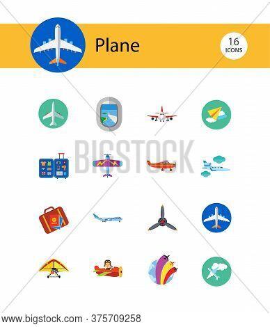 Plane Icon Set. Air Show Paper Flying Plane Big Jet Airplane Propeller Kids Light Old Target Plane W