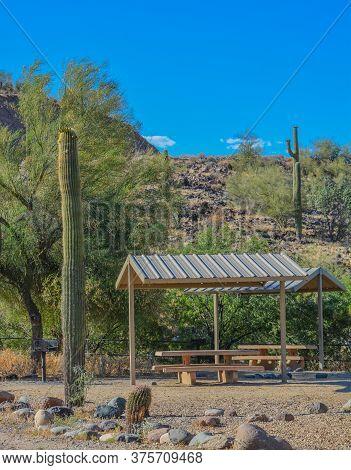 Picnic Area With Picnic Table And Barbecue In Lake Pleasant Regional Park. Sonoran Desert, Arizona U