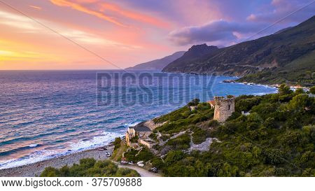 Aerial View Of Corsican Coast With Genoese Watch Tower On Cap Corse Near Farinol. Corsica, France.