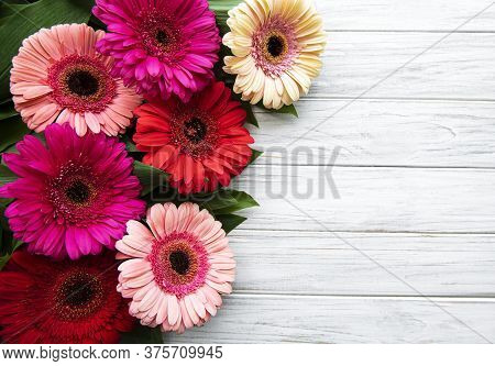 Bright Gerbera Flowers On A White Wooden  Background. Frame Of Flowers, Top View