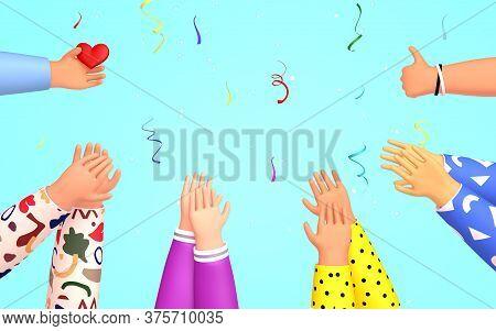 Set Of People Hands Clapping, Liking.  Applause, Ovation, Celebrating, Rapture. 3d Render  Illustrat