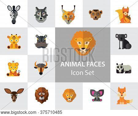 Animal Faces Icon Set. Lion Zebra Hippo Giraffe Wolf Elephant Antelope Meerkat Doe Ox Red Lynx Bull
