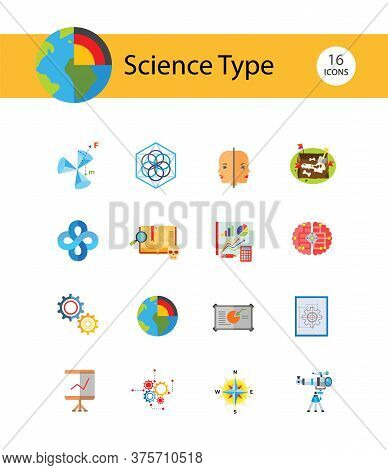 Science Type Icon Set. Archeology Astronomy Cartography Engineering Geography Geology Meteorology Pa