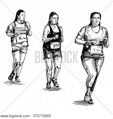 Drawing Of The Woman Running Competition Show Fat Girl Runners