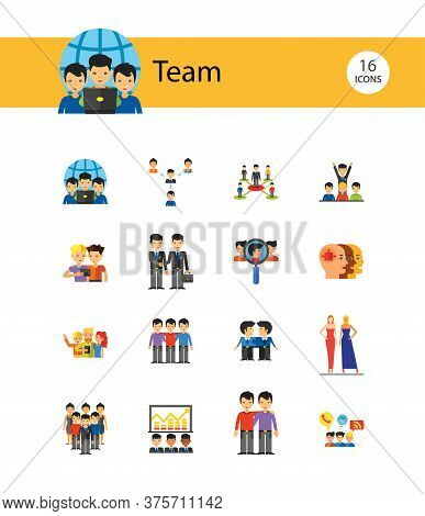 Team Icon Set. Virtual Group Colleagues Team Building Collaboration Teamwork Efficiency Team Project