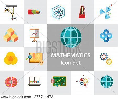 Mathematics Icon Set. Gear Wheel Drawing Metronome With Pendulum Collision Balls Globe Cubes Diagram