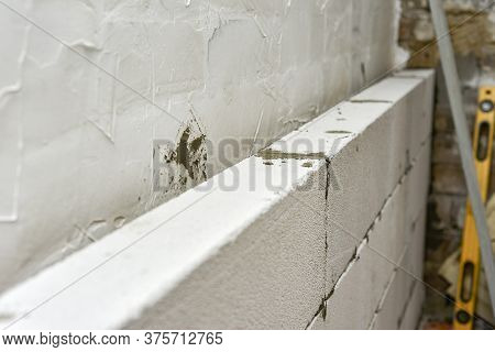 Wall Of Foam Block In A Private House, Repair And Construction Do It Yourself