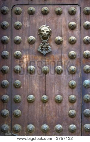 Wooden Door Of The Lima Cathedral