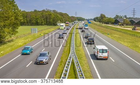 Motor Traffic On The A1 Motorway Seen From Above. This Is One Of The Bussiest Highways In The Nether