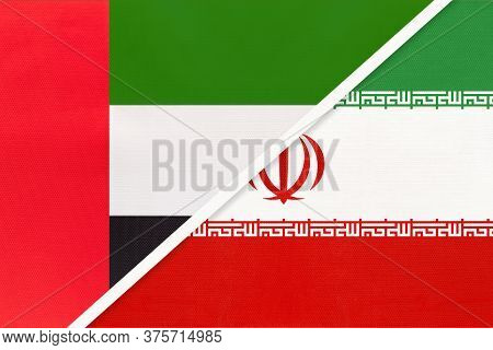 United Arab Emirates Or Uae And Iran Or Persia, Symbol Of National Flags From Textile. Relationship,