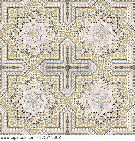 Intricate Portugese Azulejo Tile Seamless Rapport. Ethnic Geometric Vector Patchwork. Ceramics Print