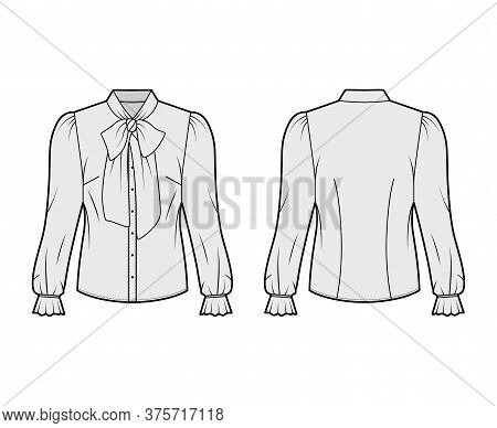 Pussy-bow Blouse Technical Fashion Illustration With Long Blouson Sleeves, Flouncy Ruffled Cuffs, Fi