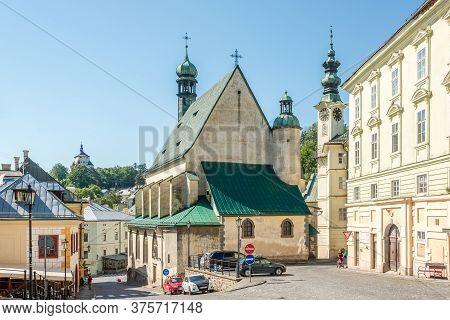 Banska Stiavnica,slovakia - July 9,2020 - At The Place Of Holy Trinity In Banska Stiavnica. Banska S