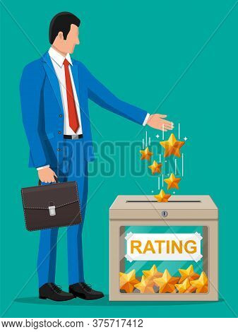 Businessman And Rating Box. Reviews Five Stars. Testimonials, Rating, Feedback, Survey, Quality And