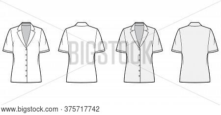 Pajama Style Blouse Technical Fashion Illustration With Retro Camp Collar, Short Sleeves Loose Fit B