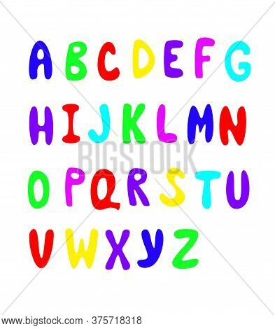 Large Color Bright Letters Of The English Alphabet. Latin Capital Letters. Vector Drawing.