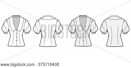Blouse Technical Fashion Illustration Set With Collar Framing The Plunging V Neck, Oversized Medium
