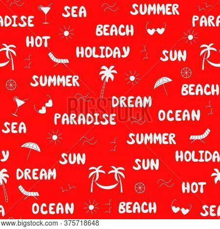 Seamless Pattern Summer Concept. Words Summer Paradise Ocean Sea Vacation Beach. Contour Drawings Of