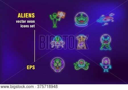 Aliens Neon Signs Set. Green Cute Characters, Humanoid, Invaders, Ufo. Night Bright Advertising. Vec