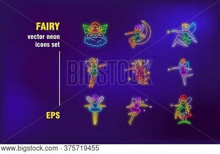 Fairy Neon Signs Set. Flying Cartoon Female Character With Wings, Magic Stick, Wizard, Mystery. Nigh