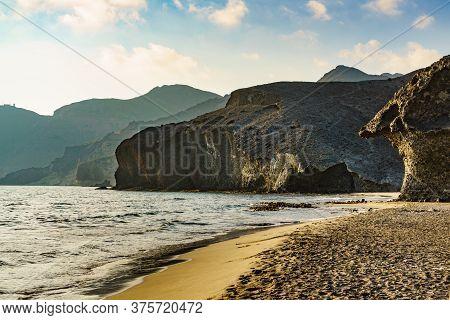 Monsul Beach. Coastal Landscape, Cabo De Gata Nijar Natural Park, Province Almeria, Andalusia, Spain