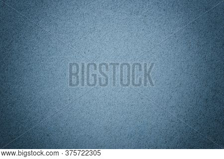 Texture Of Vintage Navy Blue Paper Background With Matte Vignette. Structure Of Denim Kraft Cardboar