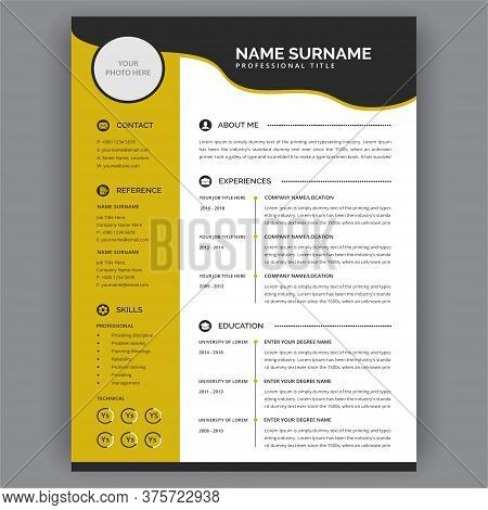 Yellow Cv / Resume Template. Stylish And Modern Professional Resume Cv Layout Vector Illustration. E