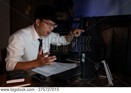 Stressed Young Asian Business Man Working Late Night Alone In Office Late His Eyes Are Gonna Closing