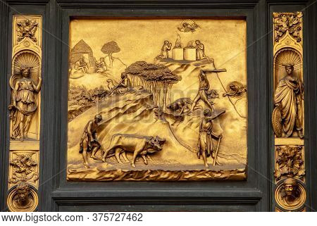 Florence, Italy - September 8, 2011: Florence, Italy - Baptistery , Panel Of The Door Of Paradise -