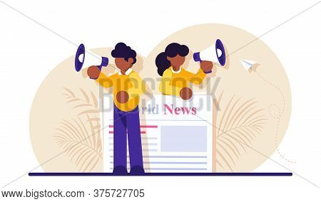 Concept Of Commercial, News Broadcasting, Advertisement, Promotion In Periodical Publication. Person