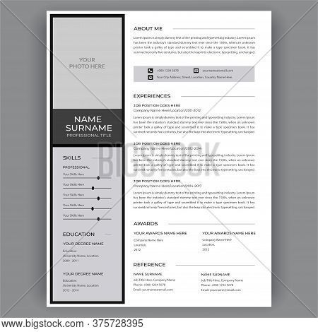 Resume Template / Cv Vector. Clear And Modern Professional Resume Cv Template Layout. Dark Gray And
